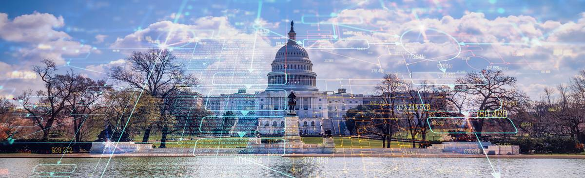 Government picture with digital plans draw over it